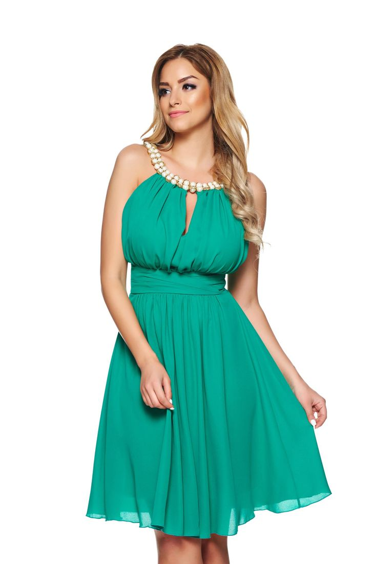 LaDonna Charm Fantasy Green Dress, pearl embellished details, push-up cups, back zipper fastening, inside lining, voile fabric