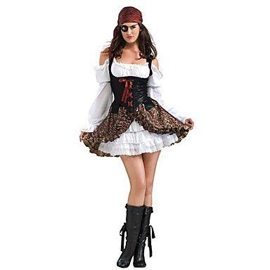 Eenogige Piraat Zwart-wit Polyester Women's Halloween Costume – EUR € 21.81