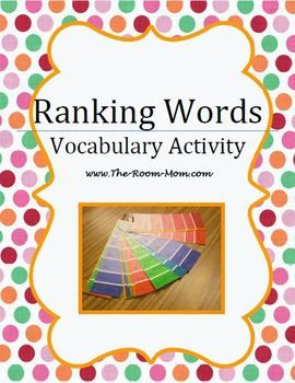 """A great free-printable ready-made """"Ranking Words"""" activity set (inc. teaching instructions) to work on synonymous words. A very useful activity for building-up active vocabulary and for improving writing skills. Can be adapted for any level."""