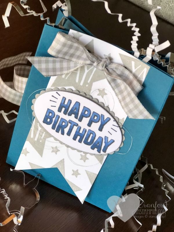 Birthday gift bag, super easy to make using the Stampin' UP! Gift Bag punch board Wendy Cranford www.luvinstampin.com  #handmade #birthday #stampinup #gifts #luvinstampin #giftbag