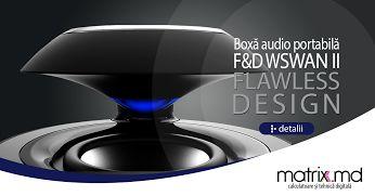 """F&D W18BT Plastic Swan (Portable, Black, 2W RMS(2""""), 60-20KHz, 70dB, Bluetooth, Li-Ion battery, Handsfree)"""