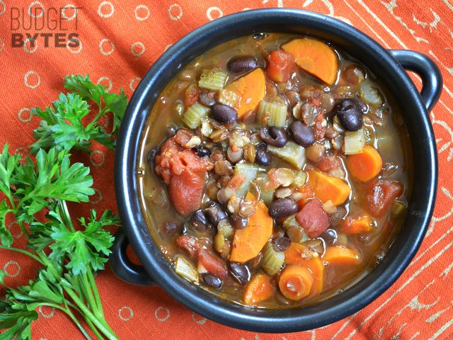 This Chunky Lentil and Vegetable Soup is packed with hearty flavor, texture, and nutrients! Step by step photos.