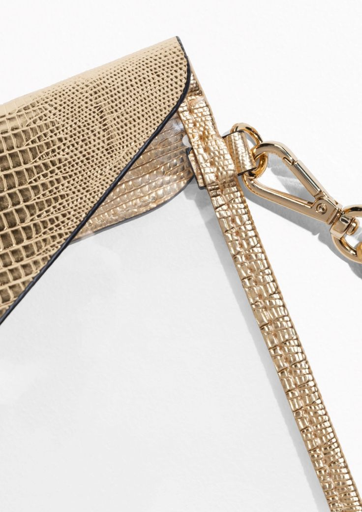 & Other Stories image 2 of Transparent Clutch  in Gold