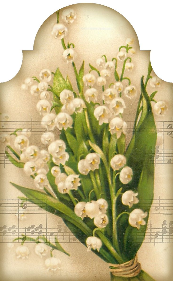 """""""Sweetest of the Flowers"""" ~ lily of the valley bouquet and music tag. Tag 3.2"""" x 5.2"""""""
