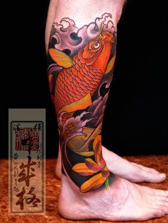 Tatuagem de carpa na perna - Fotos Tatuagem