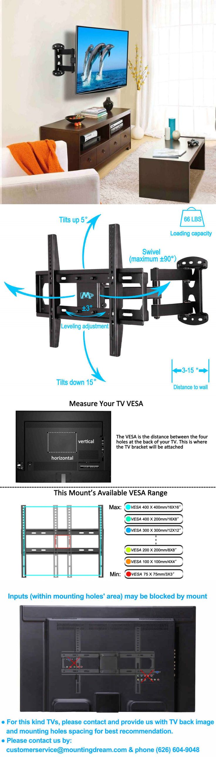TV Mounts and Brackets: Mounting Dream Tv Wall Mount Bracket For Most Of 26-55 Inch Led Lcd Ole Screen BUY IT NOW ONLY: $30.71