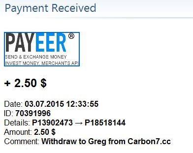 Received payments on 03/07/2015