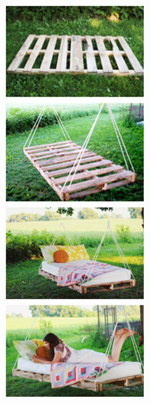 DIY pallet swing: pallets, 2 x 4 lumber (we used three 8-foot pieces), drill, screws, saw, measuring tape, rope & mattress or cushion (shown w/a standard twin mattress) 2 vinyl zippered mattress covers