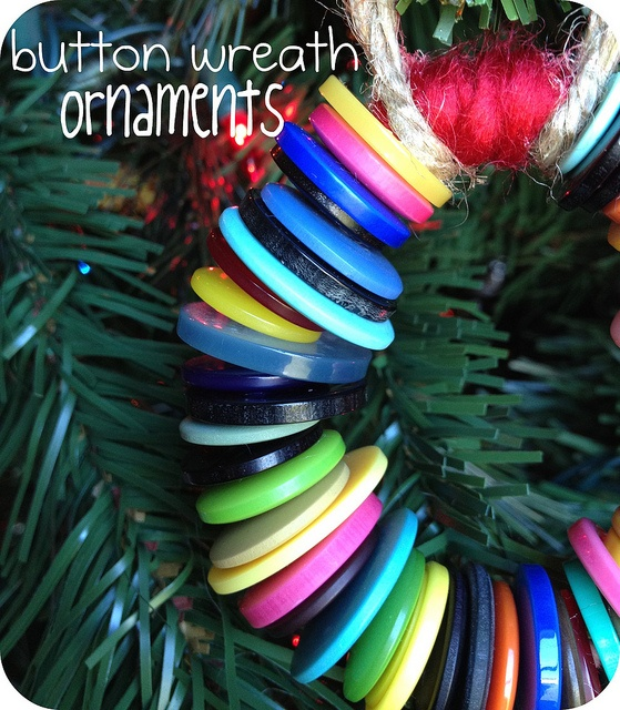 Homemade button wreath ornaments