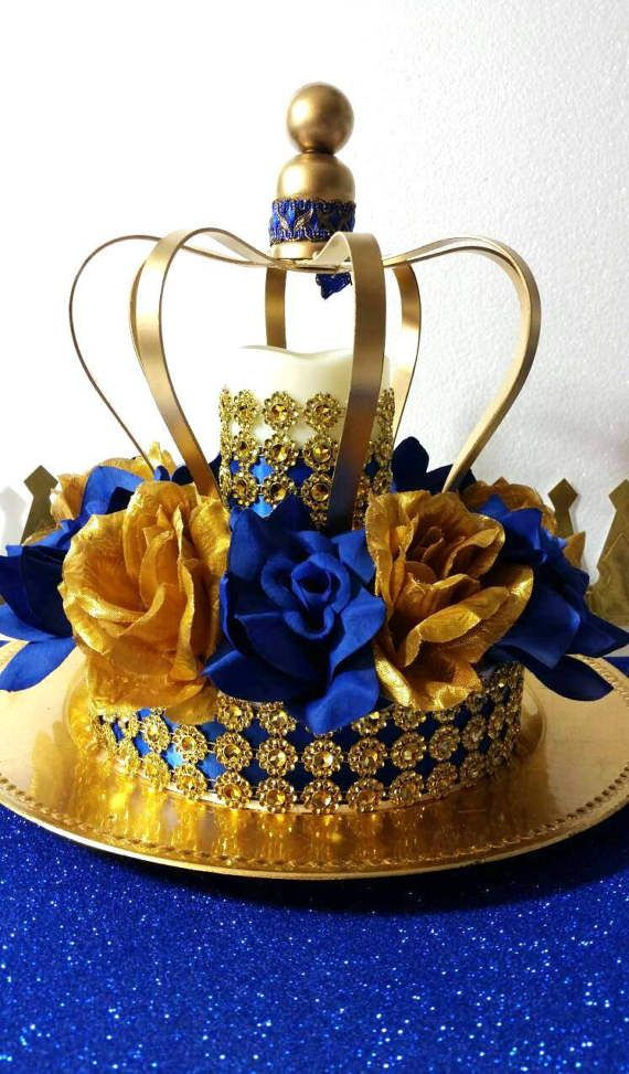 New royal prince baby shower crown centerpiece boys