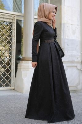 Eda Ertunç Siyah Açelya Tesettür Elbise
