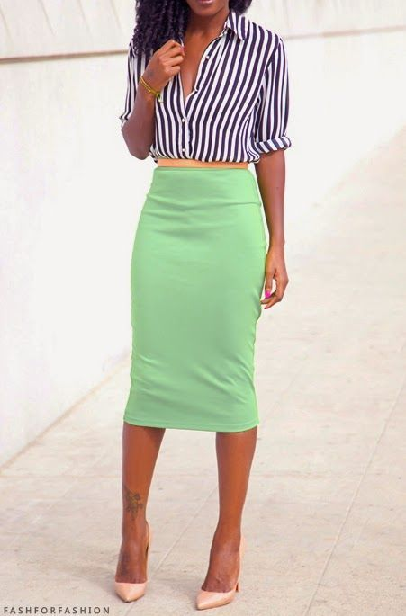 """For taller ladies, a midi-length pencil skirt is a great way to shake up the traditional pencil skirt silhouette. Invigorate your wardrobe with a midi-skirt in a bright color, like the lime green..."""