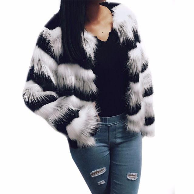 Puszyste faux fur coat kobiety Chic Miękkie kobiet odzieży wierzchniej gruby ciepły długi rękaw elegancka kurtka jesień zima owłosione płaszcz M-3XL