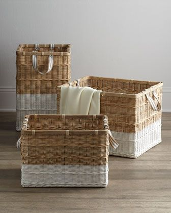 Lovely white dipped baskets. Coastal storage.