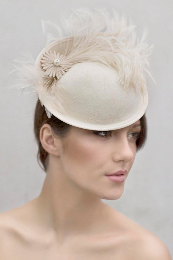 Wedding Feather Saucer Hat Custom Colours by MaggieMowbrayHats