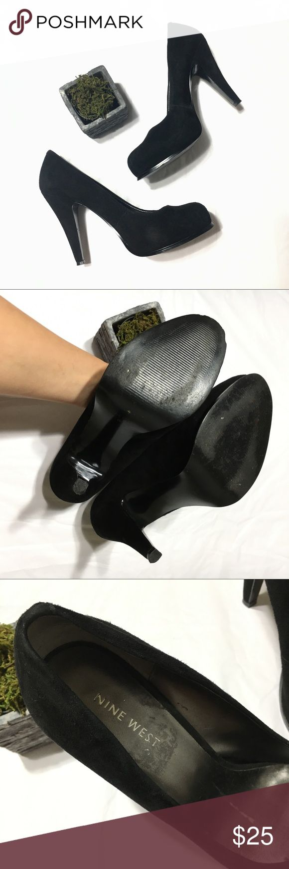 Nine West Heels Faux suede size 8 Nine West heels, small residue from tags on inner part of heel. Fair offers are welcome! Nine West Shoes Heels