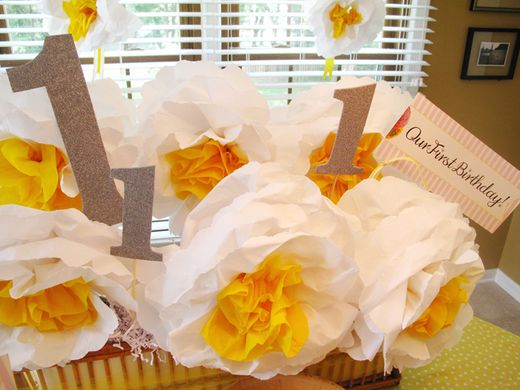 """Photo 2 of 7: Sunny yellow, pink stripes & paper flowers / Birthday """"Twins Girls First Birthday"""""""