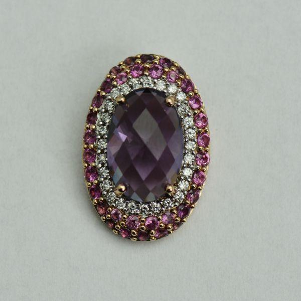 Pandantiv din aur roz cu ametist, safire roz si diamante