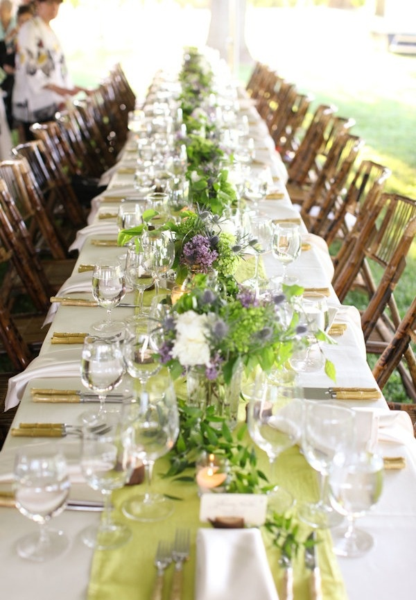 Green table setting rustic or barn wedding ideas pinterest for Long table centerpieces