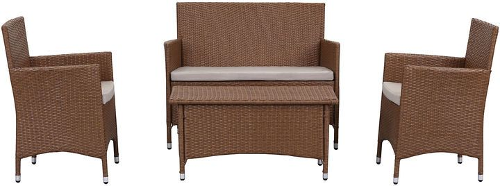 This outdoor lounge set stands the test of time with aluminum frames wrapped in synthetic wicker and amply padded weatherproof upholstery. An easy fit for the patio, pool deck, or backyard, it shows off a neutral color scheme and sharp, modern silhouette. Furniture > Outdoor Furniture > Outdoor Lounge Sets.