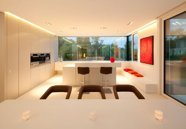 Modern Kitchen Interior and Furniture at Modern House Twin Cubic Form with Natural Environment, Photo  Modern Kitchen Interior and Furniture at Modern House Twin Cubic Form with Natural Environment Close up View.