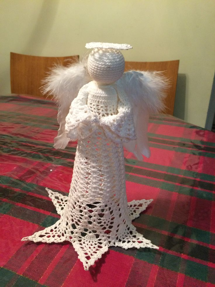 Crochet angel with feather wings