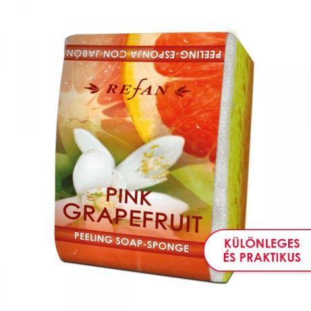 Rózsaszín grapefruit szivacsos szappan - 2 az 1-ben bőrfeszesítő szivacsos szappan a friss grapefruit citrusos esszenciájával. Gyengéd bőrradírozó és feszesítő hatású. Mindennapi használata megelőzi a narancsbőr kialakulását, serkenti a vérkeringést. ©Refantázia