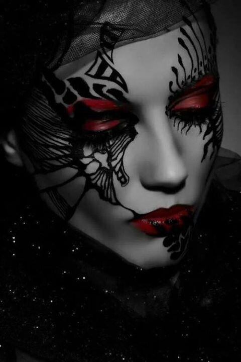 red | dark fairy makeup