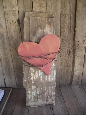 Love Red Wood Heart and Barbed wire  www.etsy.com/shop/gritsngrace by diane.smith