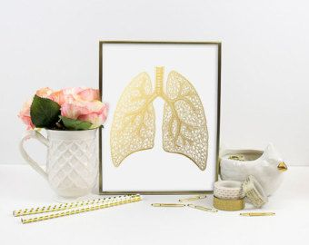 Gold Foil Print Human Heart Gold Foil Art by SamsSimpleDecor