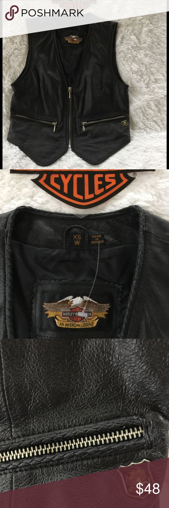 NWOT Black Leather Harley Davidson Vest Very nice detail with braided leather trim, back detail is very nice, last picture vest shown with sheer Harley shirt sold in a separate listing.  No pet/smoke closet Harley-Davidson Jackets & Coats Vests