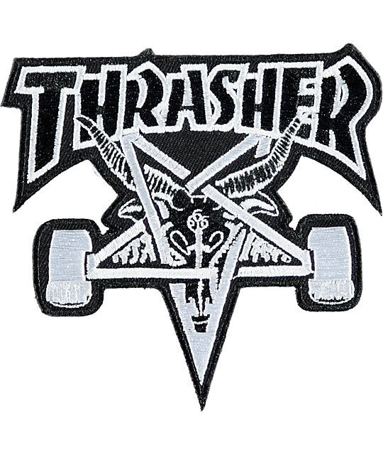 Easily improve your backpack or clothing items with the easy to use Thrasher Skate Goat patch. An iron-on application provides a convenient and easy way to adhere this patch to tons of surfaces to show off the iconic grey and black Thrasher Skate Goat emb