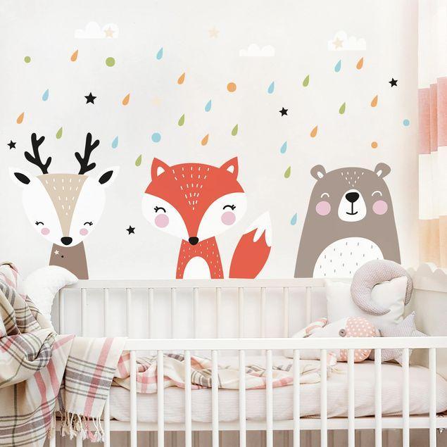 Stencil Adesivi Per Pareti Bambini.Adesivo Murale Bambini Dolci Animaletti Della Foresta