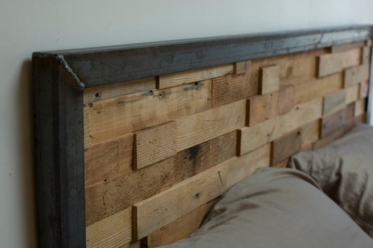 Reclaimed Wood and Iron Steel Headboard- awesome use of raw steel and barn wood!