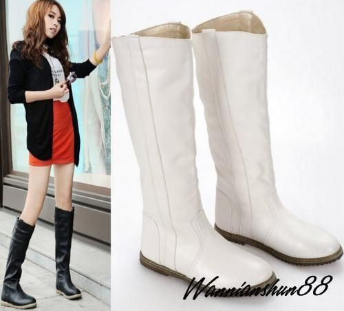 Womens Casual Round Flat Heel Round Toe Faux Leather Knee High Boots