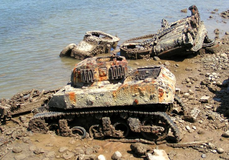 Cemetery of military equipment: the remains of the Panhard 178В and tank M5 Stuart on the shore of the island Héron (Djibouti). These machines were used 15th breeschoten of Marines to quell the unrest in Djibouti in 1960. [1890X1320]
