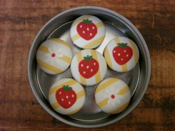 Cloth Strawberry magnets.