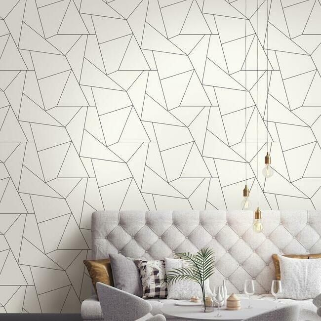 Fractured Prism Peel Stick Wallpaper In Black And White By York Wall In 2021 Peel And Stick Wallpaper Wallpaper Living Room Accent Wall Wall Coverings