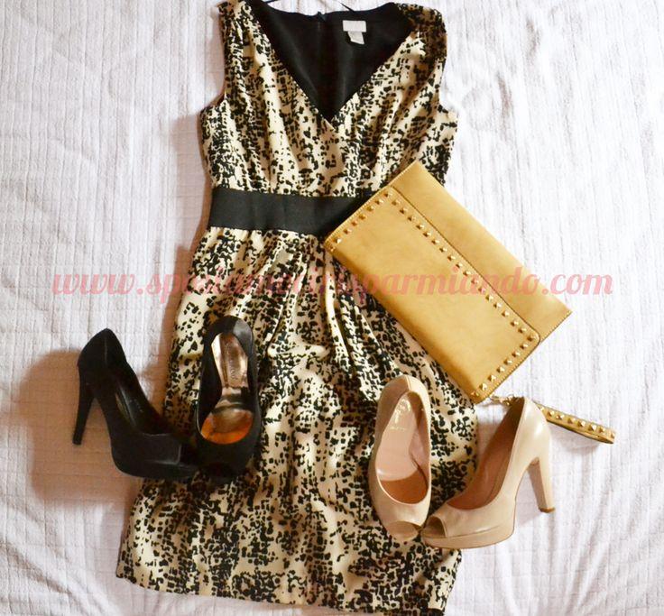 H & M - #outfit invitata a nozze:  abito H  scarpe #beige @Laura McAbee, scarpe nere #madeinChina,  borsa color senape acquistata al mercato a € 12,00