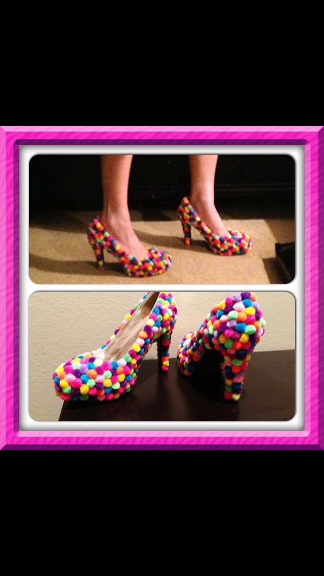 Gumball shoes for candyland costume. Hot glue multi colored Pom poms onto a pair of comfortable high heels