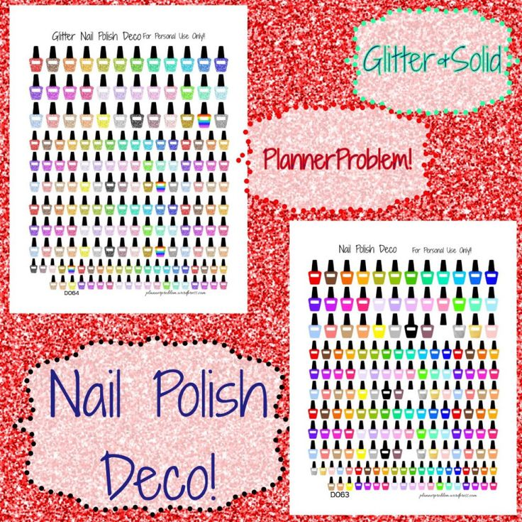 Nail Polish Deco!   Free Printable Planner Stickers from plannerproblem.wordpress.com! Available in glitter and solid!   Download for free at https://plannerproblem.wordpress.com/2016/07/23/nail-polish-deco-free-printable-planner-stickers/