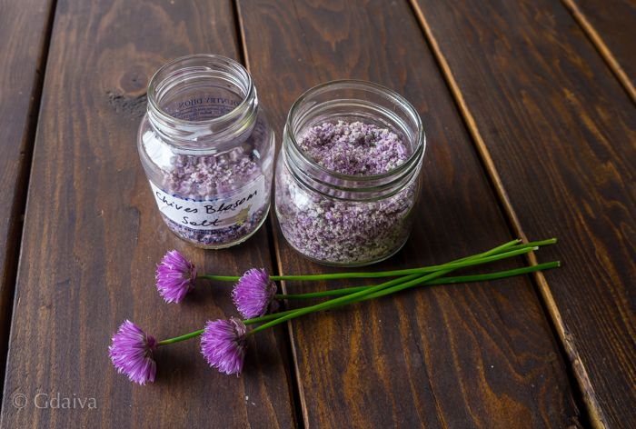 Herbal salt made with wild chives blossoms and salt
