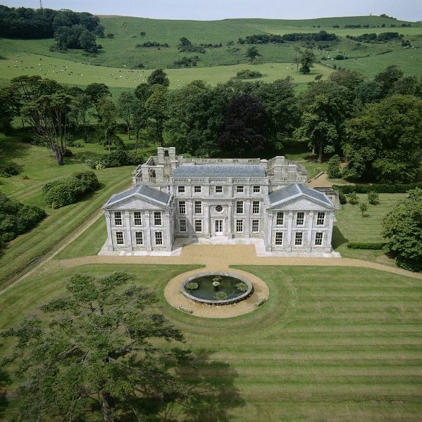 Appuldurcombe House - Aerial View of the house and grounds looking west © Skyscan Balloon Photography.   The shell of Appuldurcombe, once the grandest house on the Isle of Wight, is an important example of English baroque Architecture: the 1701 east front has now been restored. It stands in 'Capability' Brown-designed grounds