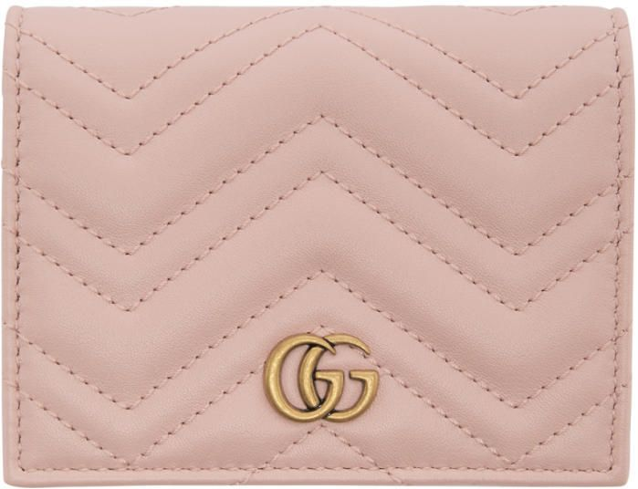 Gucci Pink Small GG Marmont Wallet (£270) | #Blush #Pink #Fashion #Accessory with #Gold #Hardware | Gift Idea for Her | #Ad