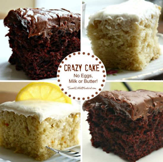 This Crazy Cake recipe dates back to the Great Depression. It has no eggs, milk, butter, bowls or mixers yet is so moist and delicious! It's ideal for anyone with egg or dairy allergies. You can make a Chocolate, Vanilla, Lemon, Carrot, Coffee or Kahlua version.