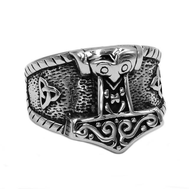 Handmade Tibetan Silver Viking Mjölnir Thor/'s Hammer Key Ring Norse God Mjöllnir