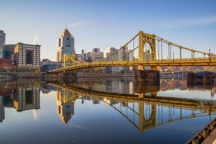 Reflections of the Roberto Clemente Bridge in Pittsburgh HDR