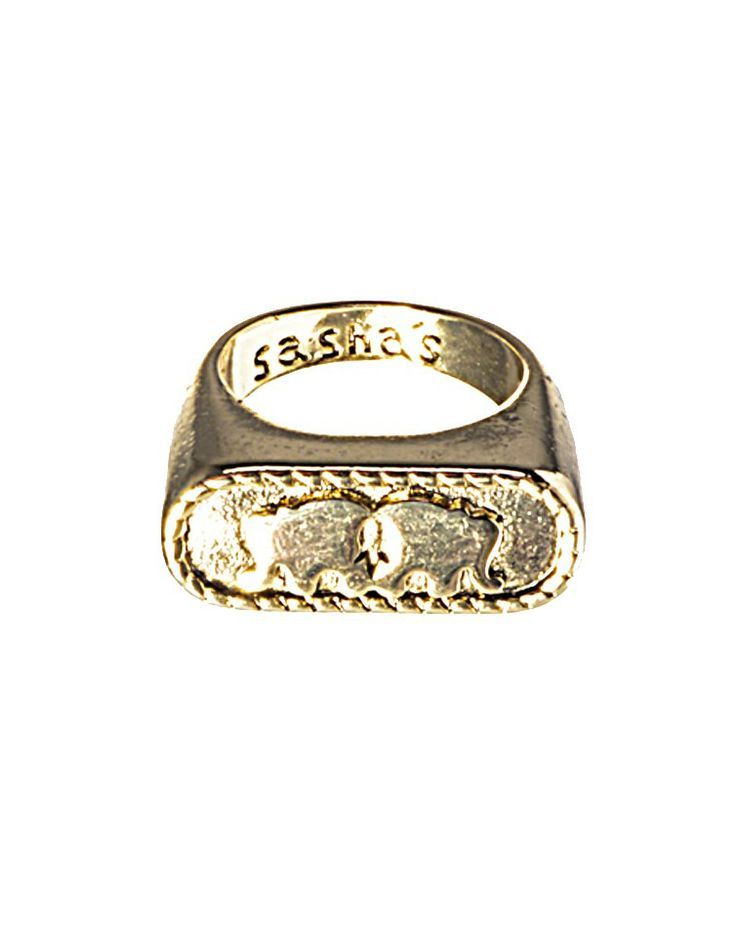 SASHAS STATE OF MIND | Oval Elephant Ring in Gold -  - Style36