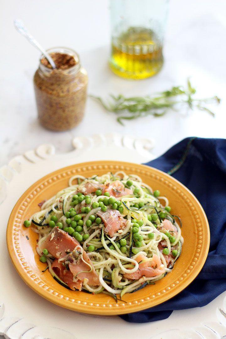 Mustard-Tarragon Zucchini Pasta Salad with Smoked Salmon and Peas #spiralizer #healthy #seafood