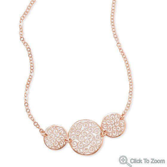 """17"""" 14 Karat Rose Gold Plated Necklace with Filigree Disc Design – 1Deebrand  #fashion #beauty #necklace #ladies #womensfashion #1deebrand"""